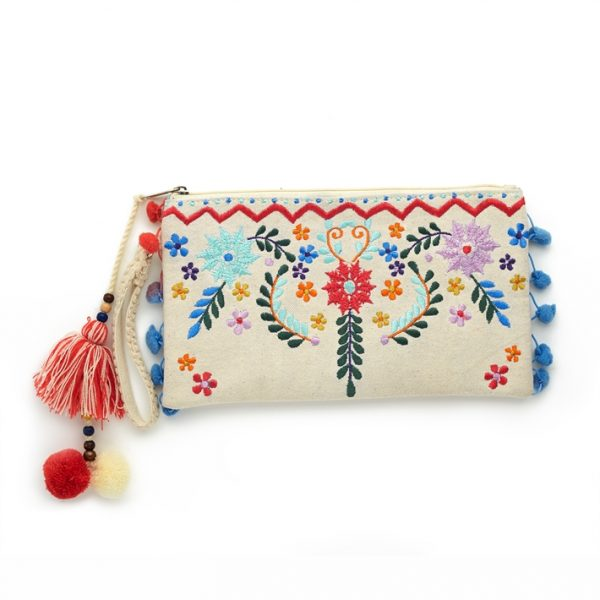 EMBROIDERED CANVAS CLUTCH BAG