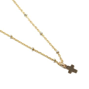 ERIN GRAY OXFORD CROSS GOLD NECKLACE