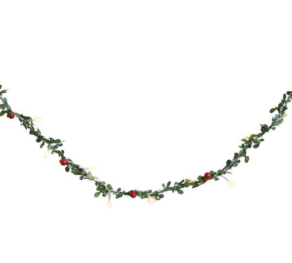 FAUX BOXWOOD GARLAND WITH LIGHTS