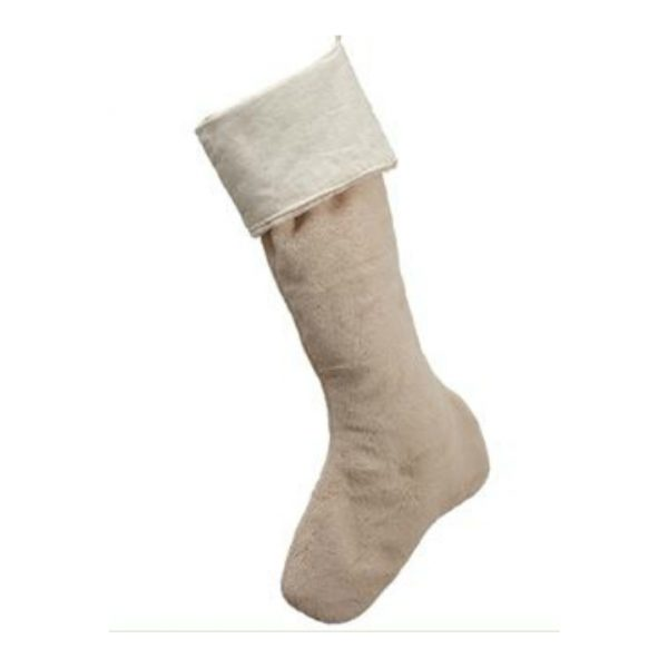 FUR CHRISTMAS STOCKING - CREAM