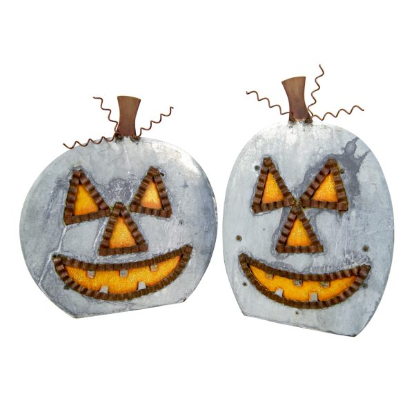 GALVANIZED JACK-O-LANTERN YARD STICKS