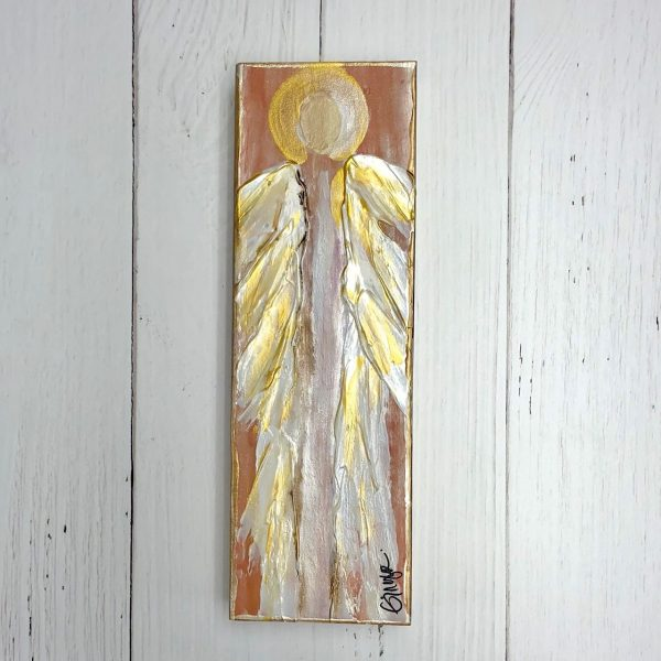 GINGER LEIGH DESIGNS LARGE TALL SERENITY ANGEL - CORAL