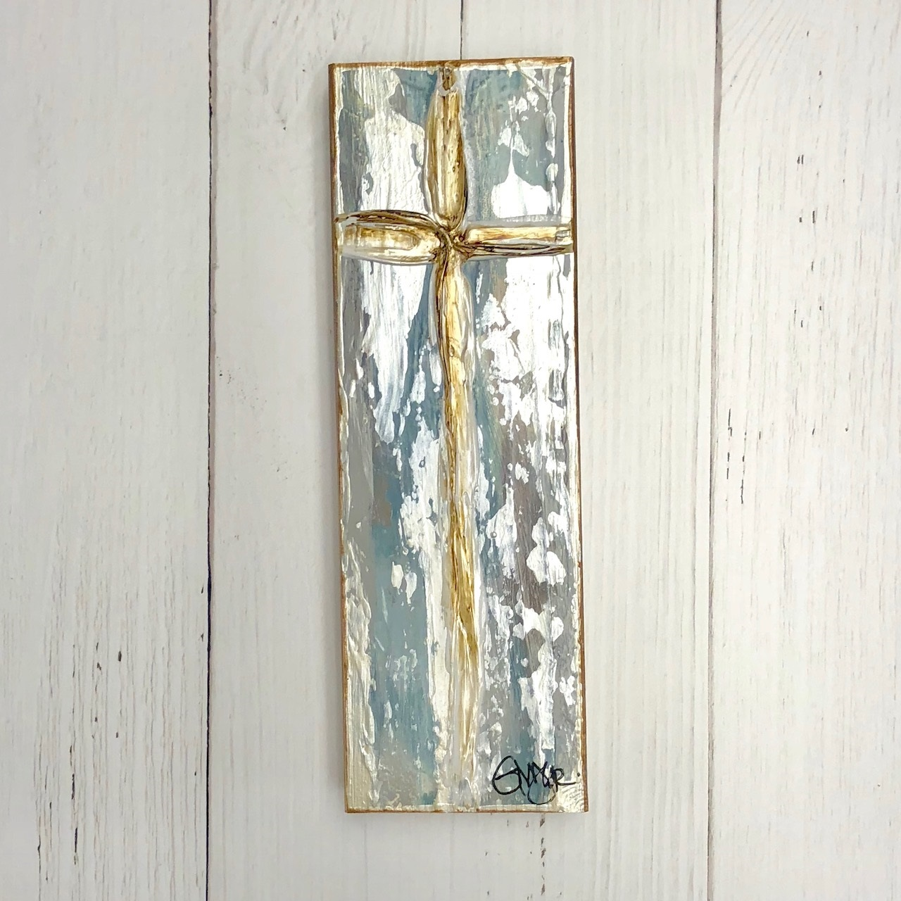 GINGER LEIGH DESIGNS LARGE TALL TRANQUILITY CROSS - BLUE