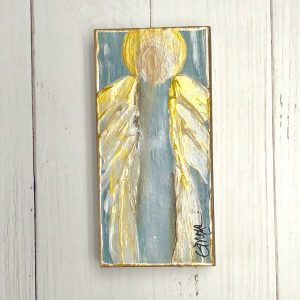GINGER LEIGH DESIGNS MEDIUM RECTANGLE SERENITY ANGEL - BLUE