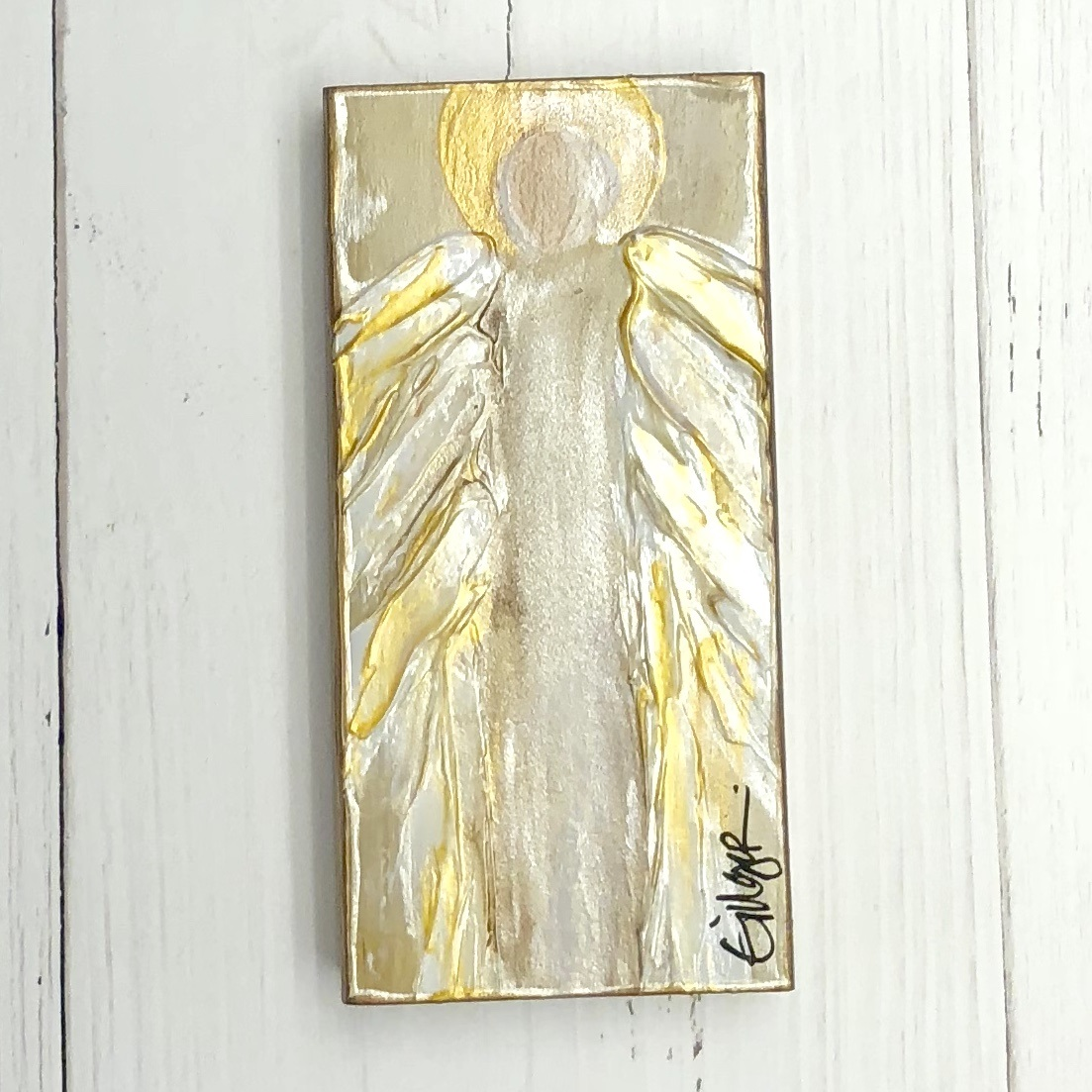 GINGER LEIGH DESIGNS MEDIUM RECTANGLE SERENITY ANGEL - WHITE