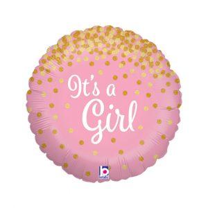 GLITTER IT'S A GIRL BALLOON