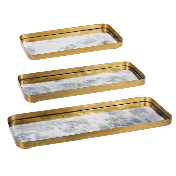 GOLD ANTIQUE MIRROR TRAYS