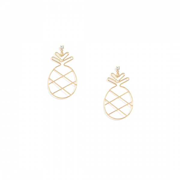 GOLD METAL PINEAPPLE EARRINGS