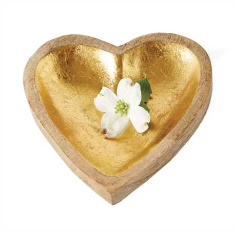 GOLD WOOD HEART TRAY