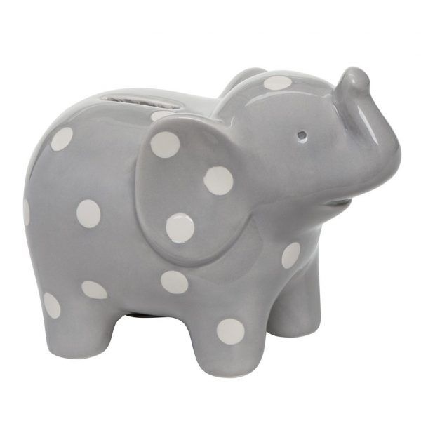 GRAY CERAMIC BANK ELEPHANT