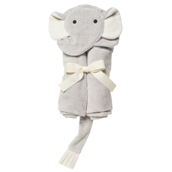 GRAY ELEPHANT HOODED BATH WRAP
