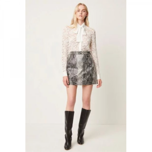 GRAY ELIAS PLEATHER REPTILE SKIRT