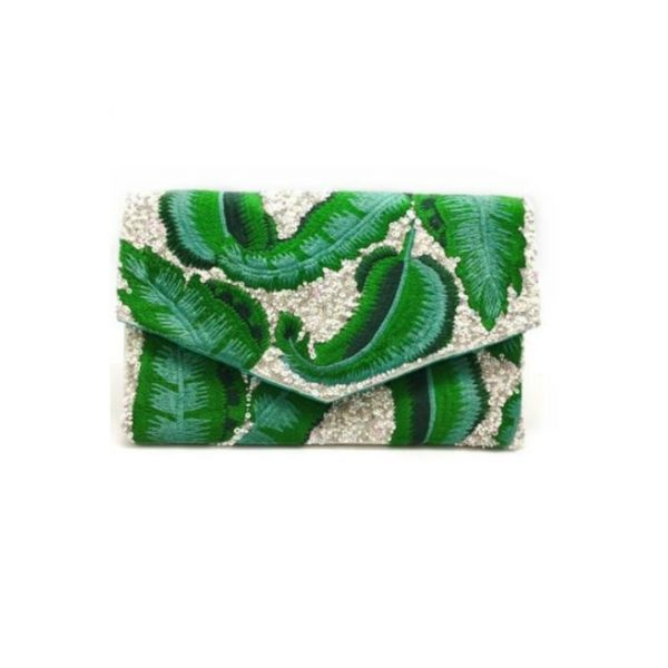 GREEN LEAVES HANDCRAFTED CLUTCH