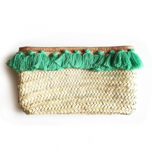 GREEN POM POM STRAW CLUTCH