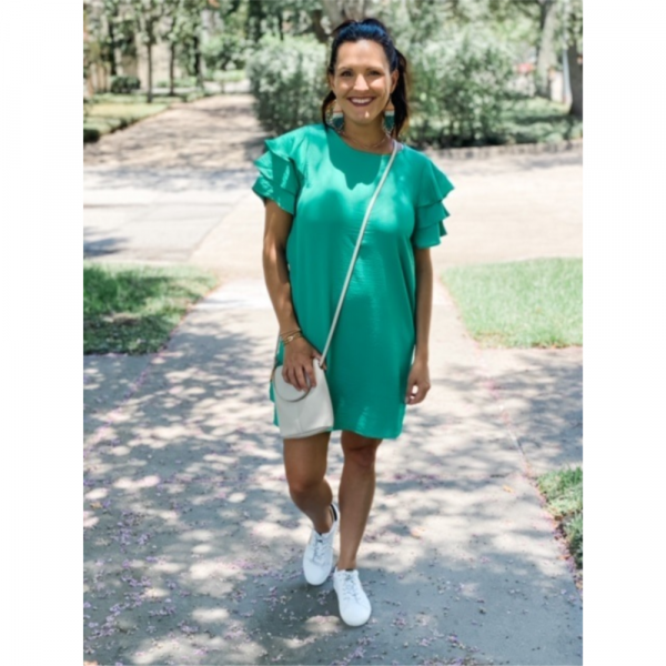 GREEN SOLID DRESS WITH RUFFLE SLEEVES