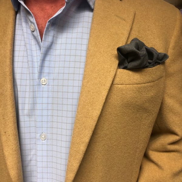 GREY & NAVY GLEN PLAID POCKET SQUARE