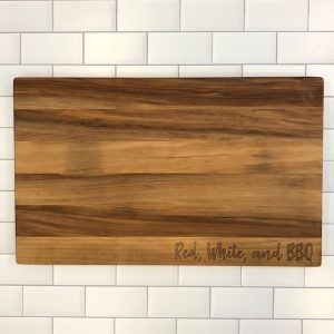 GUM CREEK CUTTING BOARDS FLAT GRAIN XLARGE RED, WHITE. AND BBQ