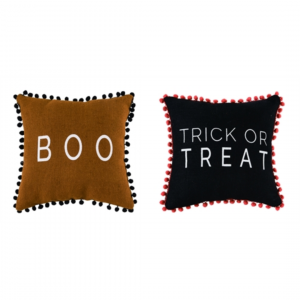 HALLOWEEN PILLOWS WITH POM POMS