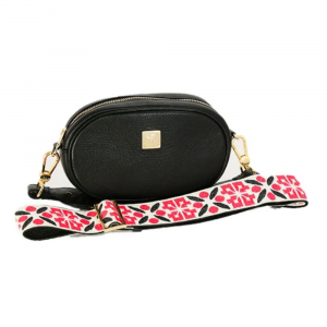 HAMPTON ROAD ANNIE BLACK LEATHER WITH RED AND BLACK XO STRAP