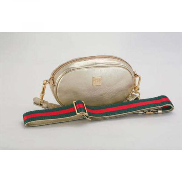 HAMPTON ROAD LEAHER ANNIE GOLD WITH RED AND GREEN STRAP