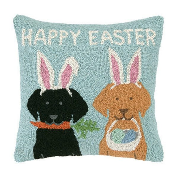 HAPPY EASTER LABS HOOK PILLOW