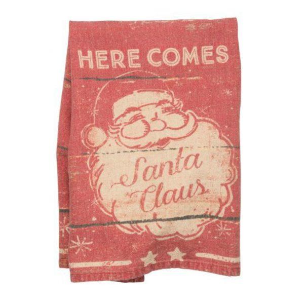 HERE COMES SANTA DISH TOWEL