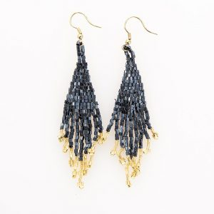 INK AND ALLOY BLUE AND GOLD SMALL FRINGE EARRINGS