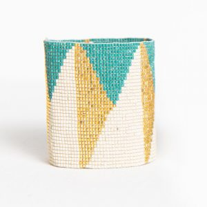 INK AND ALLOY TEAL IVORY GOLD TRIANGLE STRETCH BRACELET
