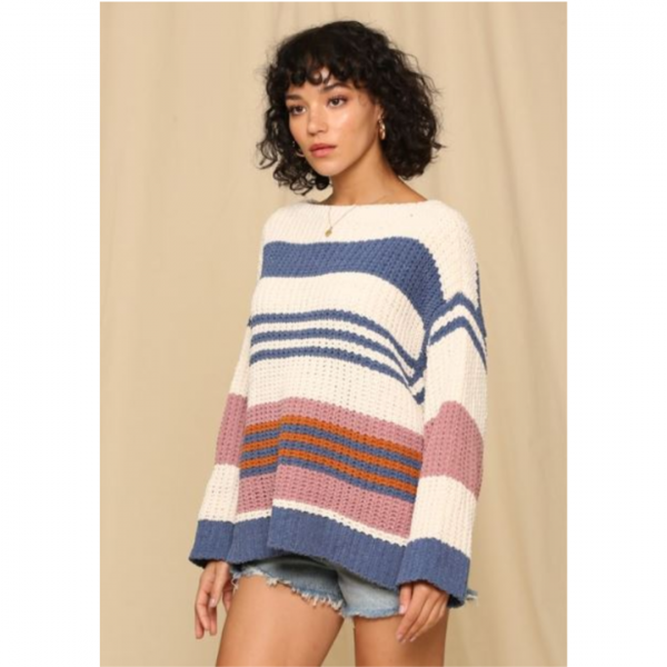 IVORY AND BLUE MULTI STRIPE SWEATER