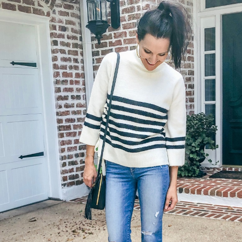 IVORY & BLACK STRIPED SWEATER
