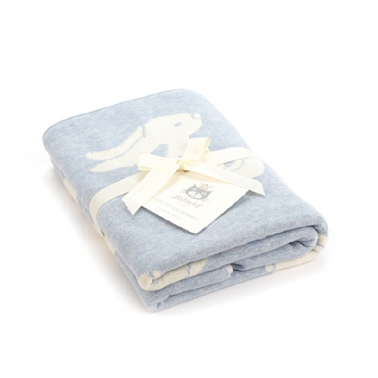 JELLYCAT BASHFUL BUNNY BLUE BLANKET