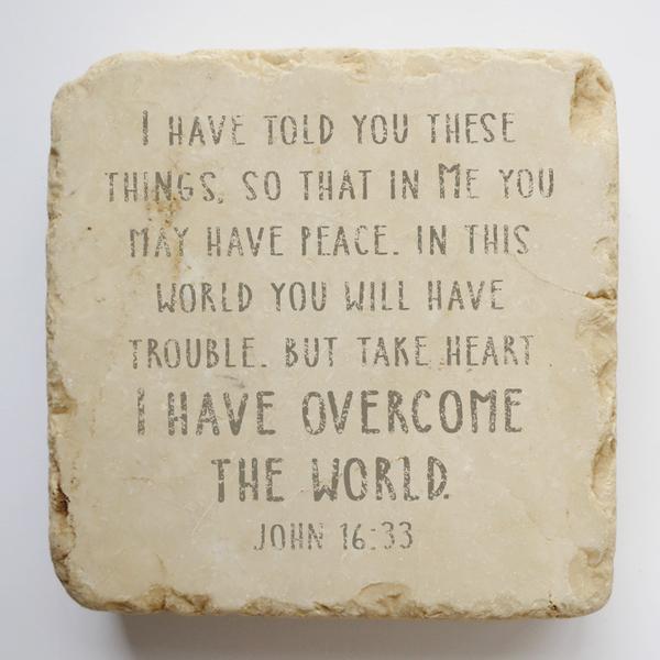 JOHN 16:33 LARGE STONE BLOCK