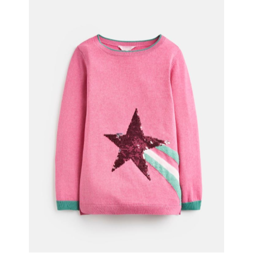 JOULES USA BLOSSOM PINK SHOOTING STAR MIRANDA INTARSIA SWEATER