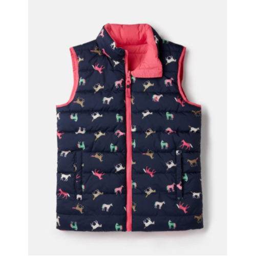 JOULES USA PINK HORSE CROFT REVERSIBLE GILET