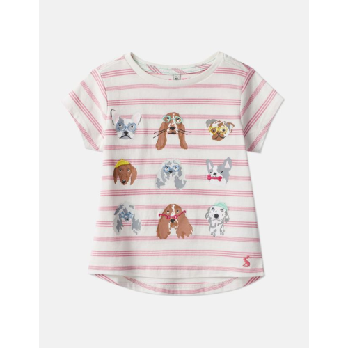 JOULES USA PINK STRIPE DOG ASTRA APPLIQUE T-SHIRT