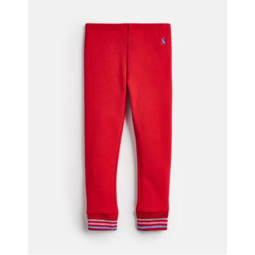 JOULES USA RED LYLA COSY BRUSHBACK LINED LEGGINGS
