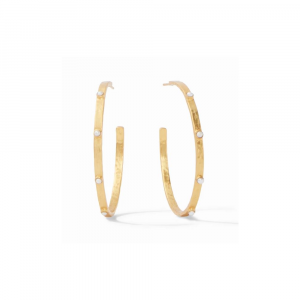 JULIE VOSS PEARL CRESCENT STONE HOOP EARRINGS