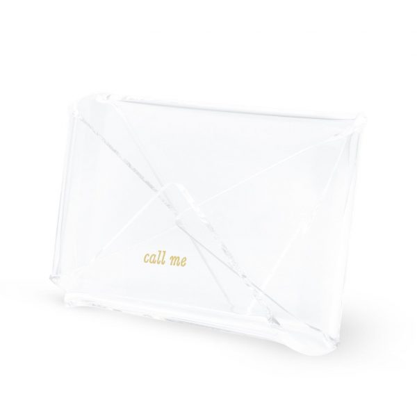 KATE SPADE NEW YORK ACRYLIC BUSINESS CARD HOLDER, STRIKE GOLD