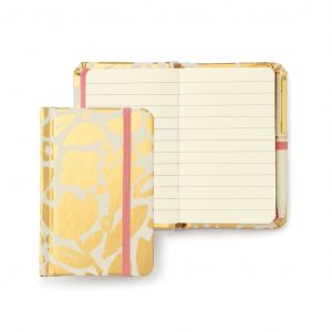KATE SPADE NEW YORK MINI NOTEBOOK WITH PEN, GOLDEN FLORAL
