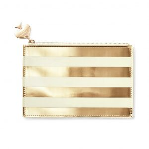 KATE SPADE NEW YORK PENCIL POUCH - GOLD STRIPE