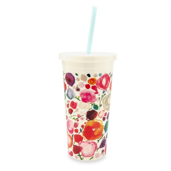 KATE SPADE NEW YORK TUMBLER WITH STRAW - FLORAL