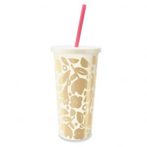 KATE SPADE NEW YORK TUMBLER WITH STRAW - GOLDEN FLORAL