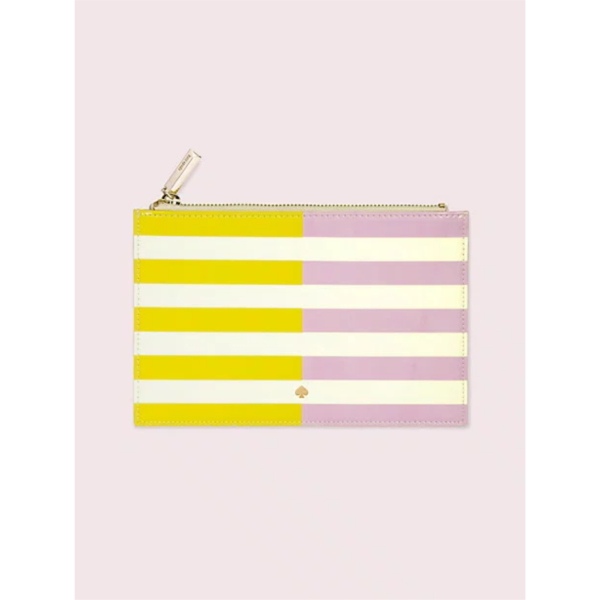 KATE SPADE NEW YORK TWO-TONE STRIPE PENCIL POUCH