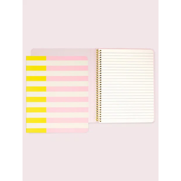 KATE SPADE NEW YORK TWO-TONE STRIPE SPIRAL NOTEBOOK