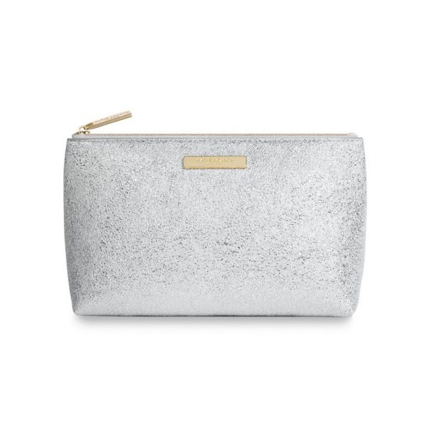 KATIE LOXTON MIA MAKE-UP BAG - METALLIC SILVER