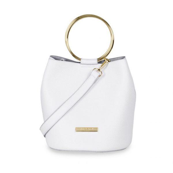 KATIE LOXTON WHITE SUKI MINI BUCKET BAG