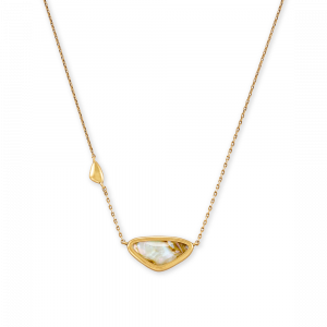 KENDRA SCOTT MARGOT SMALL PENDANT NECKLACE IN VINTAGE GOLD