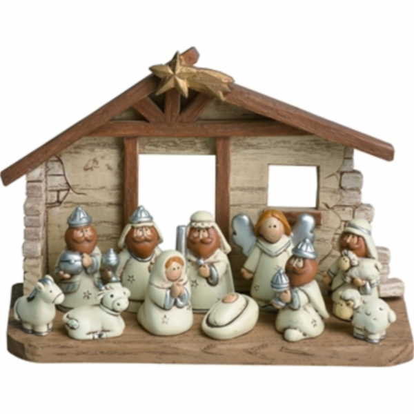 KIDS NATIVITY WITH CRECHE SET OF 12