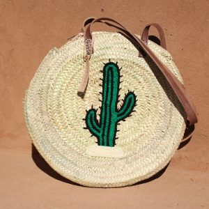 LARGE CACTUS ROUND WICKER BASKET
