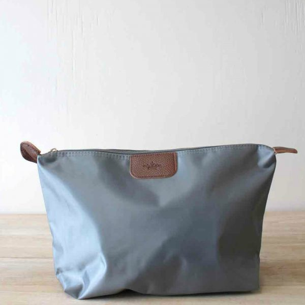 LARGE GRAY NYLON COSMETIC POUCH
